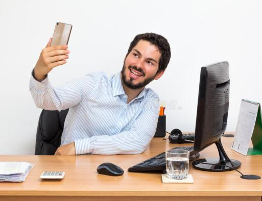 selfie-work-male-smiling-happy-photographing-himself-workstation-worker-taking-his-desk-white-background-83534747